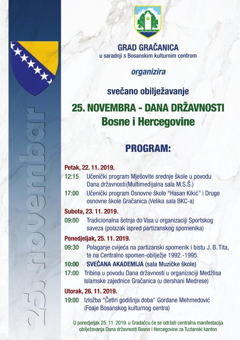 Najava događaja: Obilježavanje 25. novembra, Dana državnosti Bosne i Hercegovine