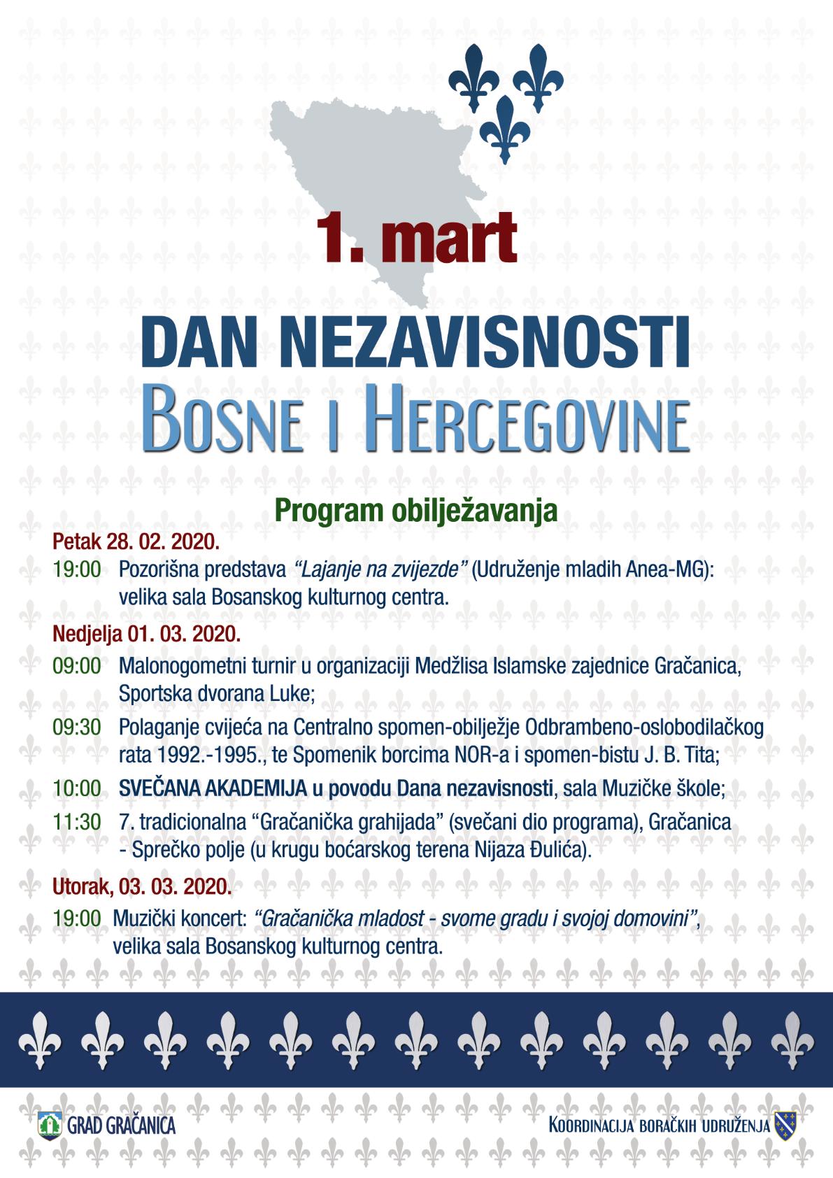 Najava događaja: Program obilježavanja 1. marta, Dana nezavisnosti BiH